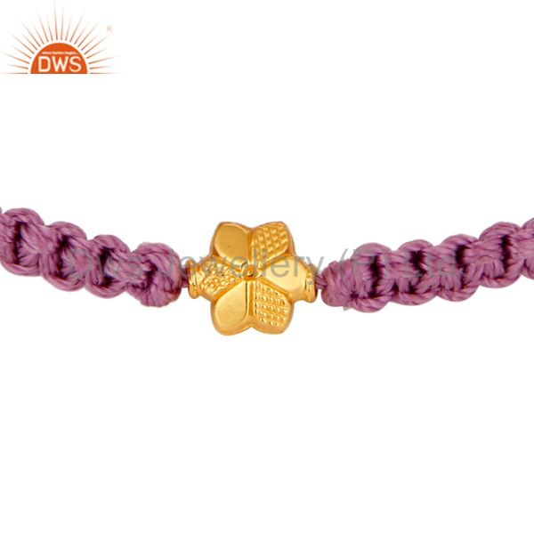 Designer Macrame Bracelet With 18K Solid Yellow Gold Finding Jewelry