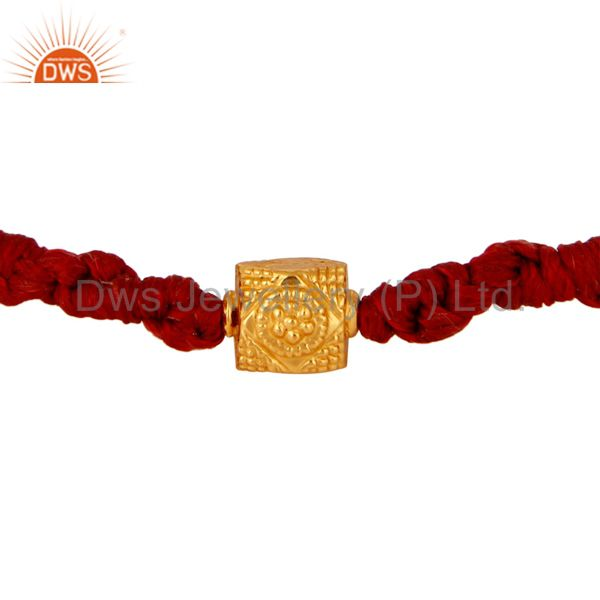 18-carat Solid Yellow Gold Red Color Macrame Bracelet Jewelry
