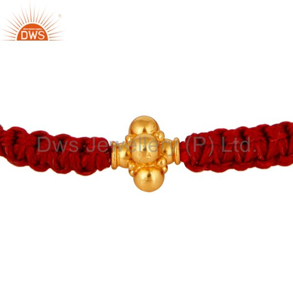 18K Solid Yellow Gold Spheres Red Thread Macrame Fashion Bracelet Jewelry