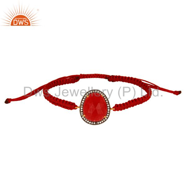 Prong-Set CZ & Red Aventurine Gemstone Macrame Bracelet