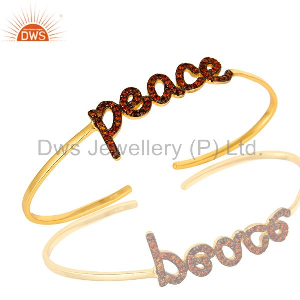 18K Gold Plated Sterling Silver Citrine Cursive Style Peace Cuff Bangle