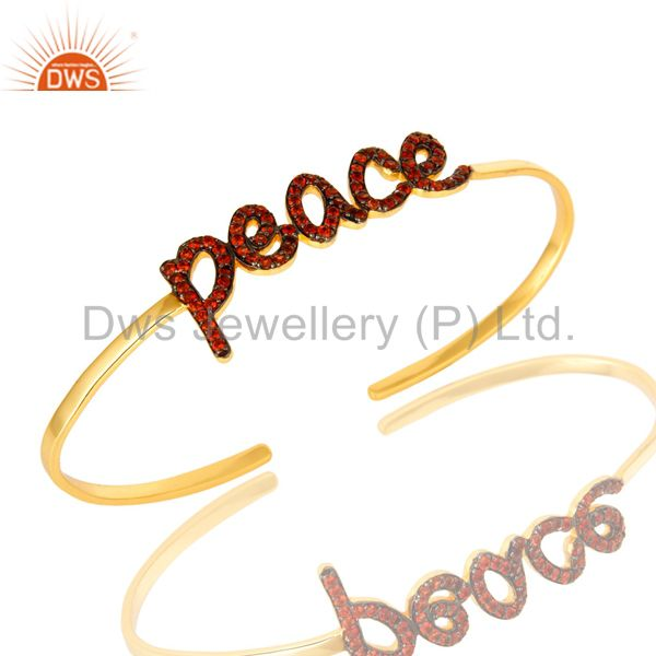 18K Gold Plated Sterling Silver Cursive Style Peace Cuff Bangle With Garnet