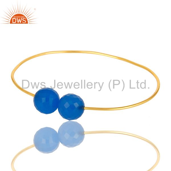 18K Gold Plated Sterling Silver Faceted Blue Chalcedony Palm Bracelet