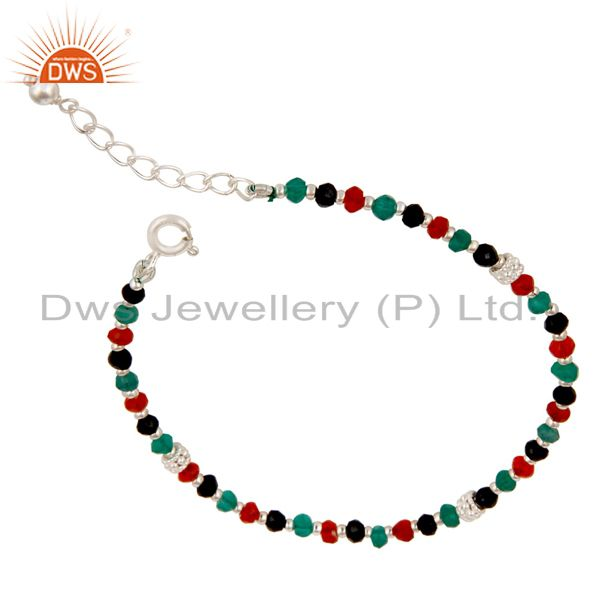 Handmade Solid 925 Sterling Silver Multi Color Onyx Beads Chain Bracelet
