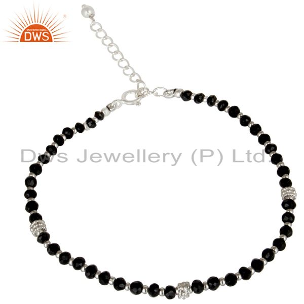 Solid 925 Sterling Silver Natural Black Onyx Gemstone Beads Chain Bracelet