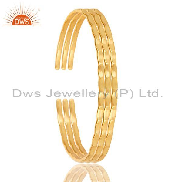 18k Yellow Gold Plated Sterling Silver Three Set High Finishing Band Ring