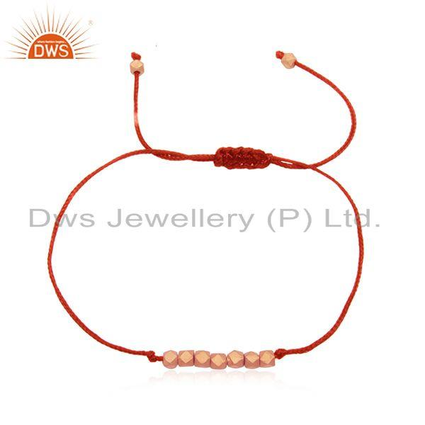 Red Cord 925 Silver Rose Gold Plated Beaded Adjustable Bracelet Wholesale
