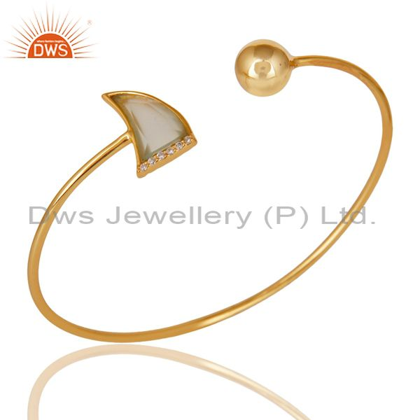 14K Gold Plated 925 Sterling Silver Handmade Dyed Chalcedony Zircon Bangle
