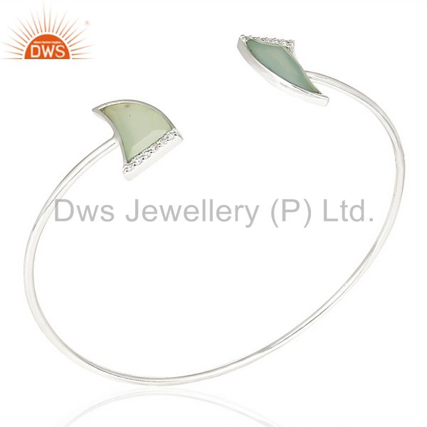 Aqua Chalcedony Two Horn Studded Bangle In Solid 92.5 Sterling Silver