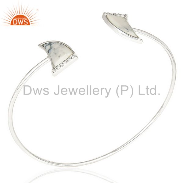 Howlite Two Horn Studded Bangle In Solid 92.5 Sterling Silver
