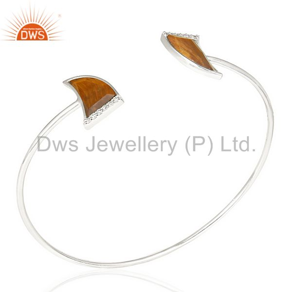 Tigereye Two Horn Studded Bangle In Solid 92.5 Sterling Silver