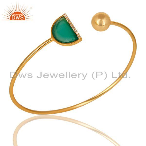 Green Onyx CZ Sleek 14K Gold Plated Sterling Silver Cuff Bangle Jewelry