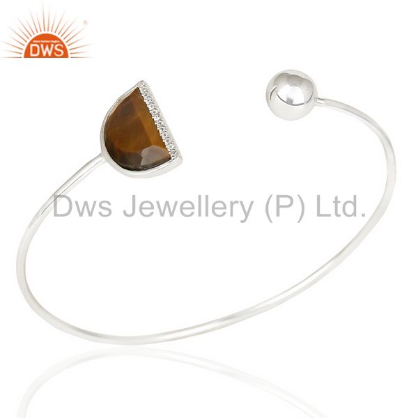 Tigereye Half Moon Bangle Studded with Zircon In Sterling Silver