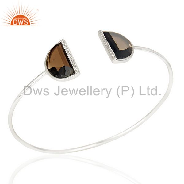 Smoky Topaz Two Half Moon Bangle Studded With Cz In 92.5 Sterling Silver