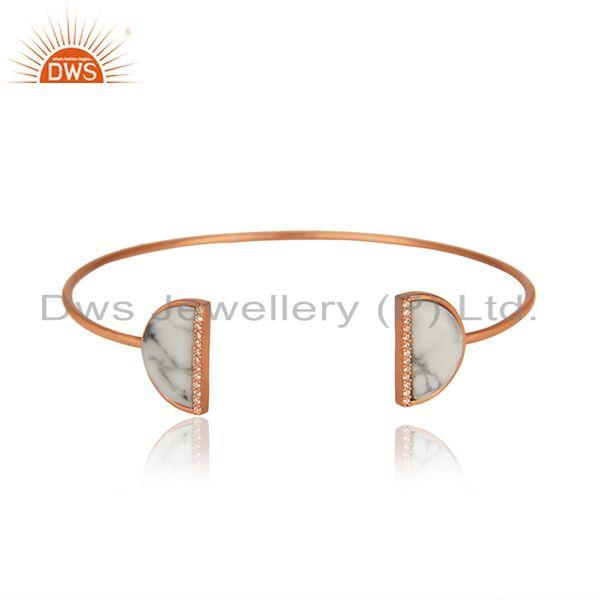 Rose Gold Plated 925 Silver White Howlite Gemstone Cuff Bangle Manufacturer