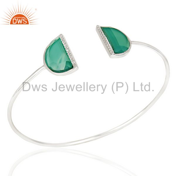 Green Onyx Studded Two Half Moon bangle In Solid 92.5 Sterling Silver