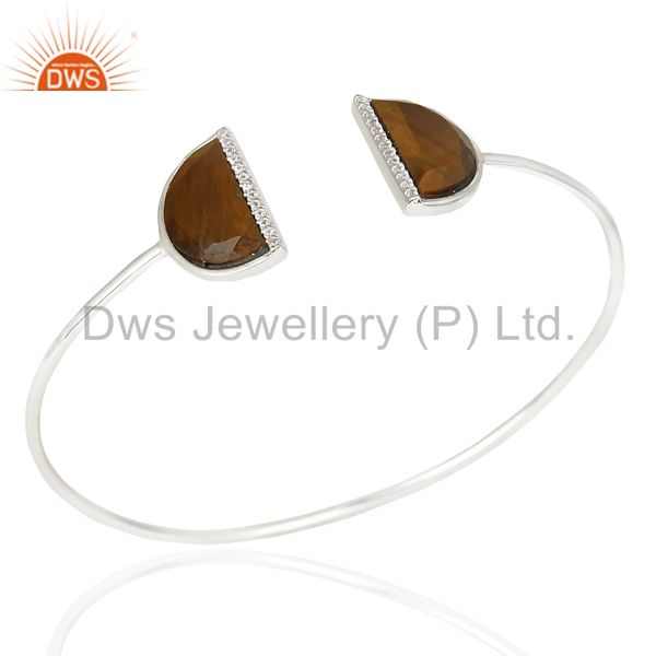 Tigereye Studded Two Half Moon bangle In Solid 92.5 Sterling Silver