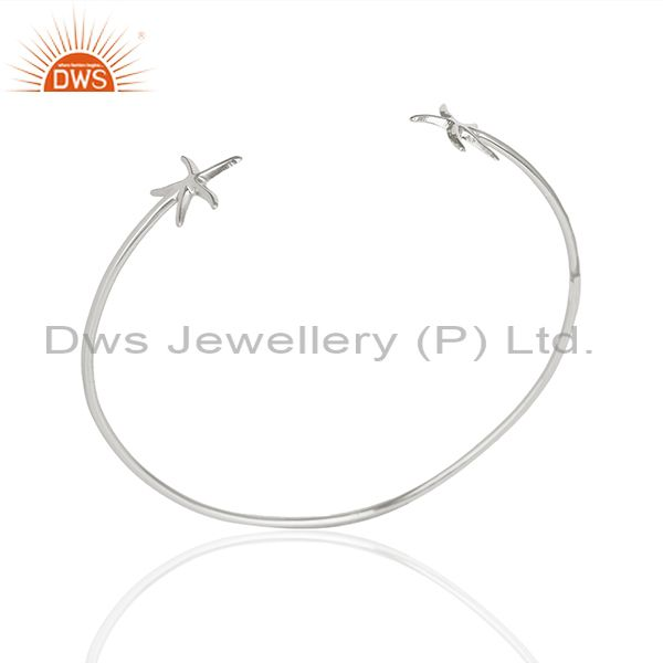 Star Fish Style Handmade 925 Sterling Silver Cuff Plain Bangle Wholesale Jewelry