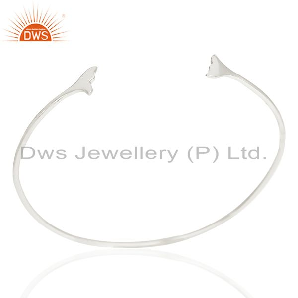Dolphin Tail Adjustable Openable 92.5 Sterling Silver Bangle