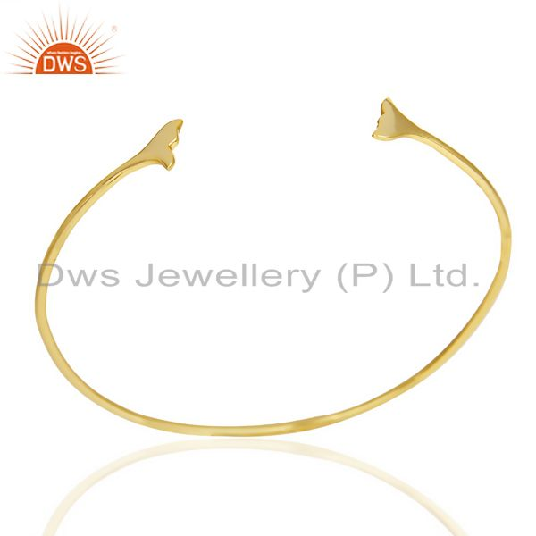 Dolphin Tail Adjustable Openable 14K Gold Plated 92.5 Sterling Silver Bangle