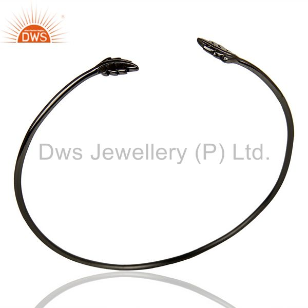 Leaf Adjustable Bangle Black Rhodium Plated In Solid 92.5 Sterling Silver