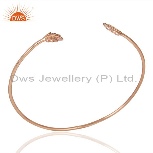 Leaf Adjustable Bangle Rose Gold Plated In Solid 92.5 Sterling Silver