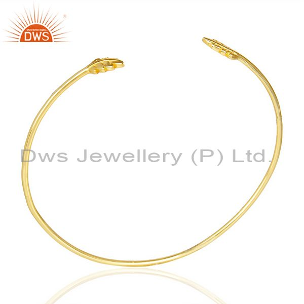 Leaf Adjustable Bangle 14 K Gold Plated In Solid 92.5 Sterling Silver