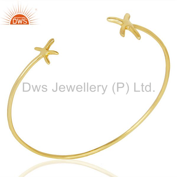 Star Fish Bangle,Openable Adjustable Bangle 14K Gold Plated In Solid Silver