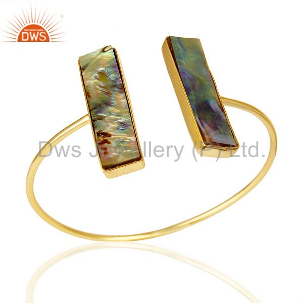 Abalone Shell Beguette Adjustable Openable Bangle 14K Gold Plated 92.5 Silver