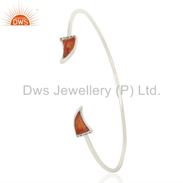 Red Onyx Unisex Tooth Horn Openable Adjustable Sterling Silver Bangle