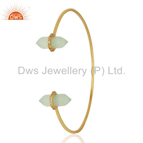 Aqua Chalcedony Pencil Point Healing Openable Adjustable Gold Plated Bangle