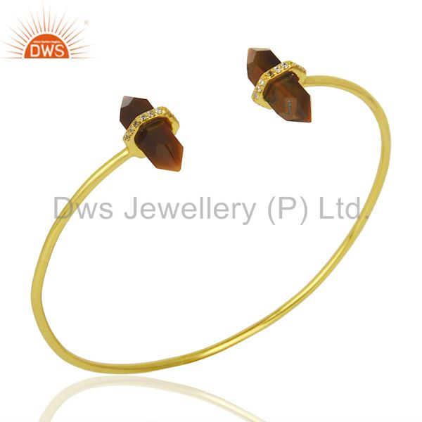 Tigereye Pencil Point Healing Openable Adjustable Gold Plated Bangle