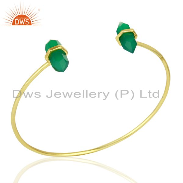 Green Onyx Terminated Pencil Point Openable Gold Plated Silver Bangle