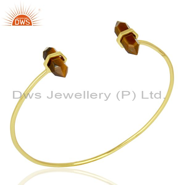 Tigereye Terminated Pencil Point Openable Gold Plated Silver Bangle
