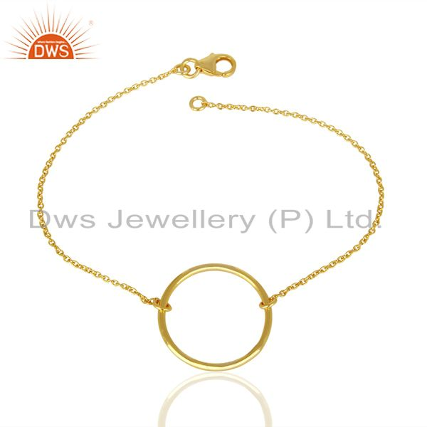 Simple Round Shape Gold Plated 92.5 Sterlign Silver Wholesale Chain Bracelet