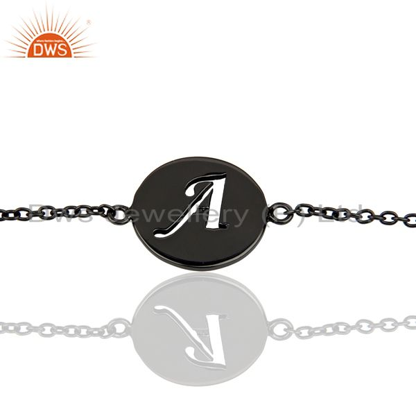 A Initial Sleek Chain Black Rhodium Plated 92.5 Sterling Silver Bracelet
