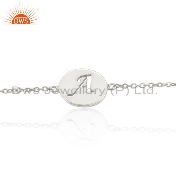 A Initial Sleek Chain 92.5 Sterling Silver Wholesale Bracelet Jewelry