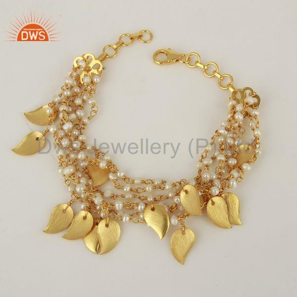 Gold Plated Natural Pearl Beads 925 Silver Girls Bracelet Supplier