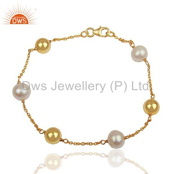 Round Pearl and 925 Silver Ball Gold Plated Chain Bracelet Jewelry