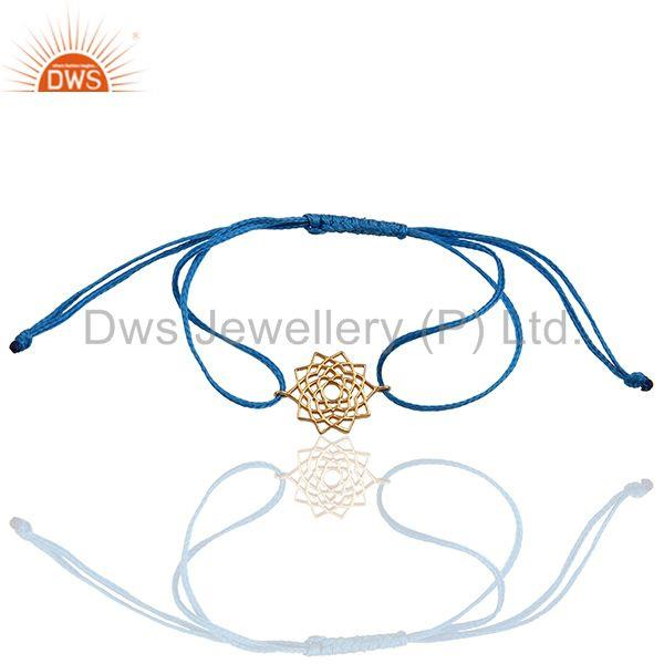 Sahasrara 925 Sterling Silver Rose Gold Plated On Blue Thread Bracelet Jewelry