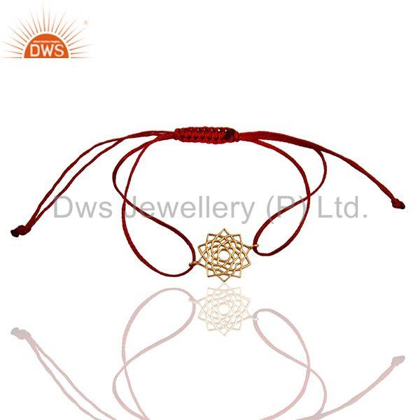 Sahasrara 925 Sterling Silver Rose Gold Plated On Red Thread Bracelet Jewelry