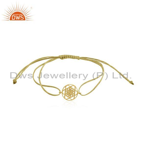 Yellow Gold Plated 925 Sterling Plain Silver Cord Bracelet Wholesaler