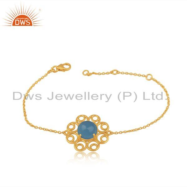 Floral Gold Plated 925 Silver Blue Chalcedony Chain Bracelet Jewelry