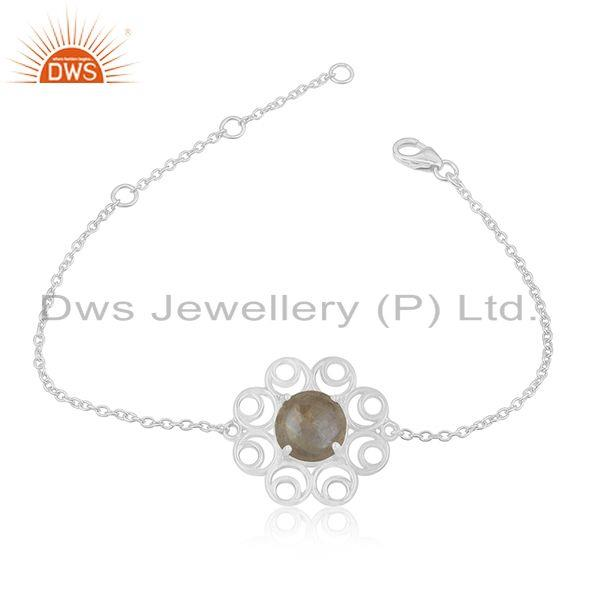 Rainbow Moonstone 925 Sterling Silver Chain Bracelet Wholesale