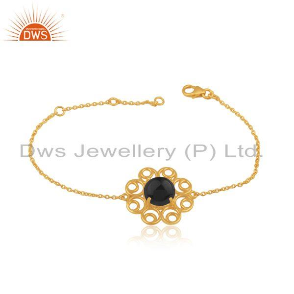 Indian Gold Plated Silver Black Onyx Gemstone Bracelet Jewelry
