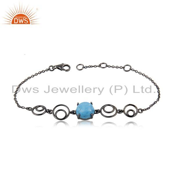 92.5 Silver Black Rhodium Plated Turquoise Gemstone Chain Bracelet Manufacturer