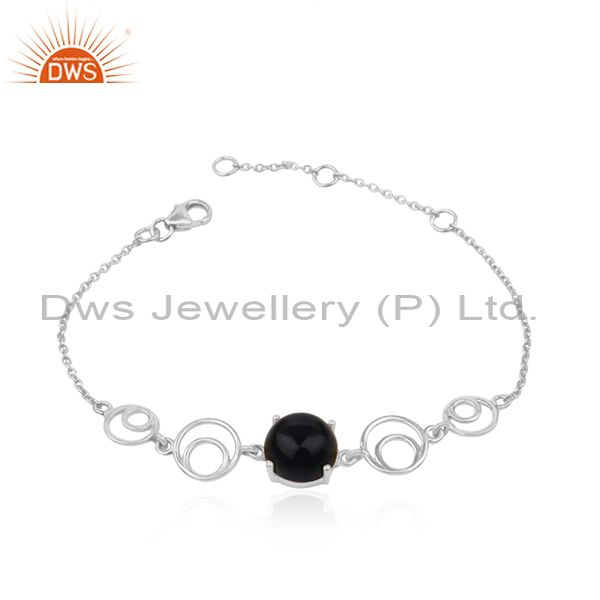 Genuine Black Onyx Gemstone Sterling Fine 925 Silver Chain Bracelet