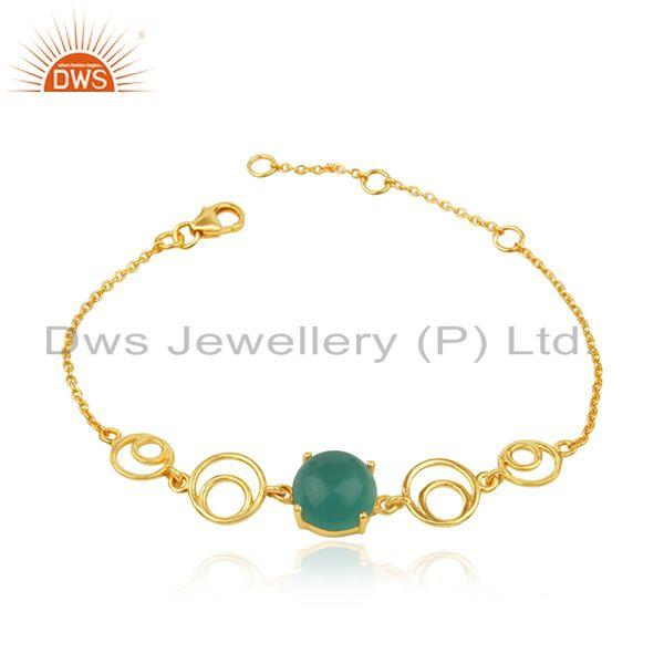 Genuine Green Onyx Gemstone Sterling Silver Gold Plated Chain Bracelet