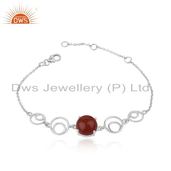Indian Designer Sterling Fine 925 Silver Red Onyx Gemstone Bracelet