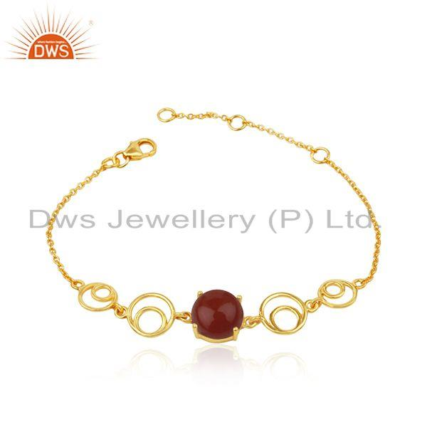 Indian Designer Sterling Silver Gold Plated Red Onyx Gemstone Bracelet
